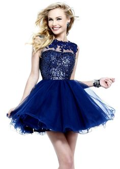 Find Sherri Hill 21217 blue lace sheer open back short homecoming dresses online now at RissyRoos.com. @Rissy Roo's