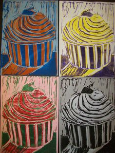 CCE Art Happenings blog: Andy Warhol inspired lino-cut reduction prints. Read blog post comments for more info.