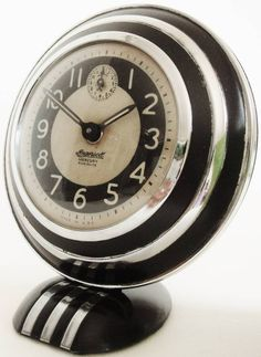 Chromed and black enameled Mercury Radiolite alarm clock - 1931 - Ingersoll.