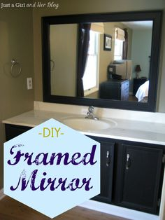 DIY Framed Mirror- Tutorial. Would work great in our guest bathroom as the frame doesn't seem to make the mirror take up any more room on the wall. from justagirlandherblog.com