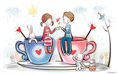 Young Love - Valentine Cute Couple illustrations - The way you are - Valentine Couple, Valentine's Day illustrations 32 Couple Wallpaper, Love Wallpaper, Valentines Day Date, Happy Valentines Day, Valentine Coffee, Valentine Wishes, Valentine Cards, Cute Wallpaper Backgrounds, Cute Wallpapers