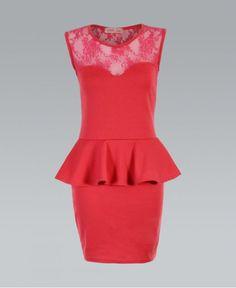 KRISP Lace Neck Jersey Bodycon Peplum Coral Dress Coral Dress, Peplum Dress, Lace, Sexy, Stuff To Buy, Clothes, Dresses, Women, Fashion