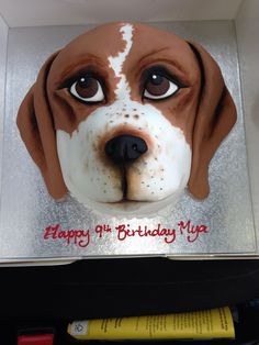 Our beagle made into a birthday cake!