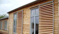 Canadian Western Red Cedar brise soleil shutters - by Solinear Ltd.