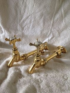 Antique Gold Brass Reclaimed Belfast Bib Taps - Ideal Country Kitchen in Home, Furniture & DIY, Kitchen Plumbing & Fittings, Kitchen Taps | eBay