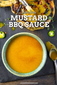 Carolina Mustard BBQ Sauce - Get your smokers and grills ready for summer with this classic Carolina mustard bbq sauce from South Carolina. It goes perfectly with pork. Here is the recipe. Spicy Chicken Recipes, Barbecue Sauce Recipes, Grilling Recipes, Pork Recipes, New Recipes, Cooking Recipes, Favorite Recipes, Vegetarian Grilling, Bbq Sauces