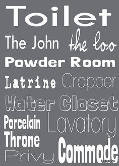 toilet word art for bathroom decor