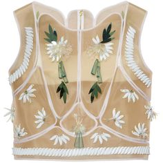 DELPOZO Embellished mesh top (€8.290) ❤ liked on Polyvore featuring tops, shirts, crop tops, blouses, sleeveless, white, bandeau tops, sleeveless tops, white bandeau top and beaded crop tops