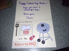 Inside of Tom's Father's Day Card