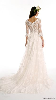 eugenia couture joy bridal spring 2017 3/4 sleeves bateau alencon lace aline wedding dress (kate) bv sheer back train romantic