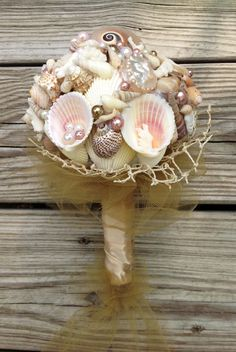 Nautical Seashell Bouquet With Colored Pearls By BeachBasketBride 9500 BouquetPearl DecorationsAquarium WeddingShell