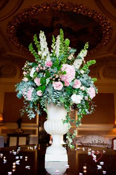 Jay Archer Floral Design- urn arrangement for cake table; Paul White Weddings