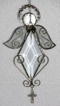 Stained glass Angel - bevel with wire scrollwork [Angel - bevel with wire scrollwo] - $25.00 : Glass Moose Cart, handcrafted glass, beads/supplies, jewelry, wood & metal art, signs
