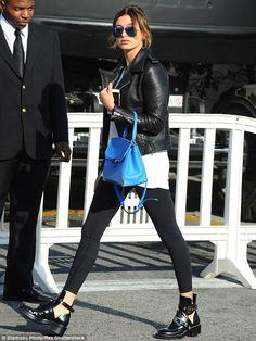 Playing it safe: Hailey Baldwin wore flats on Wednesday, a day after she was seen in her foot brace again
