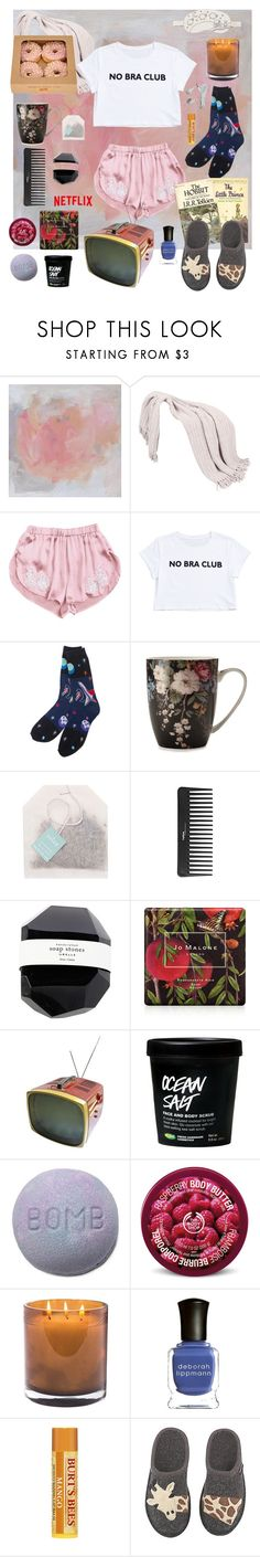 """""""I'm gonna watch my chick flicks ok"""" by unconcerned-hobbit ❤ liked on Polyvore featuring Sephora Collection, Jo Malone, Victor, The Body Shop, Laura Mercier, Deborah Lippmann, Haflinger and OuiHours"""