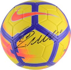 9b53573e583 Cristiano Ronaldo Real Madrid CF Signed Yellow   Purple Nike Strike Soccer  Ball Purple Nikes