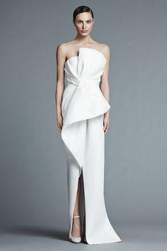 J.MENDEL Paris Bridal 2015 | MICHELINE - Silk strapless asymmetrical draped bustier gown.