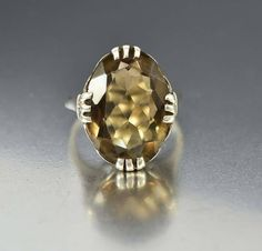 Vintage Estate Sterling Silver Smoky Quartz Ring  #intage #Silver #Quartz #Vintage #Sterling #Ring #Smoky #Diamond #1920s #Yellow