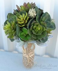 Wedding bouquet artificial succulent by BrideinBloomWeddings