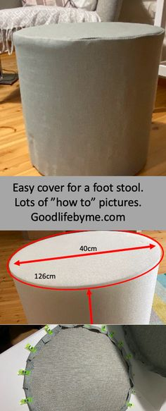 Make an easy cover for a foot stool. Lots of pictures to show you how. Fun and easy! Rest your legs! #footstool #DIYcover #coverfootstool #ottomancover #instructions #easysewing #funsewing #footrest #diyfootrest Ottoman Cover, Footrest, Life Is Good, Easy Diy, Stool, Couture, Legs, Sewing, Fun