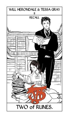 The rune suit of Tarot cards by Cassandra Jean (taking the place of Cups). Will and Tessa take the Two of Cups/Recall-Menomosyne rune.