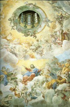 los frescos de Giovanni Lanfranco ( 1582 1647 ) Anunciacion de la Virgen en la cupula de Sant`´Andrea della Valle en Roma