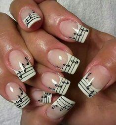 45 Easy Nail Art Designs for Short Nails for Creative Newbies : Musical Notes 2 Cute Nail Art, Beautiful Nail Art, Easy Nail Art, Cute Nails, Pretty Nails, Music Note Nails, Music Nails, Music Nail Art, Simple Nail Art Designs