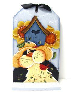 Black Cat, Birdhouse, Sunflowers Cardinal, Handpainted, Large Wood Tag, Wall Art or Shelf Sitter