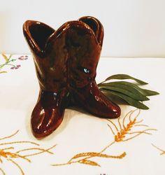 Vintage Cowboy Boots Planter, Brown Glaze; Vintage Planter, Vintage Figural Planter, Boots Planter, Cowboy Boots Planter, Brown Glaze Vintage Farm, Vintage Shops, Vintage Planters, Star Decorations, Cup And Saucer Set, Low Heels, Cowboy Boots, Glaze, My Photos