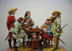 Les joueurs de cartes. Peinture Eric Talmant.