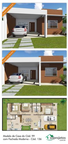 Modelo de Casa do Cód. 99 com Fachada Moderna - Cód. Dream House Plans, Small House Plans, House Floor Plans, My Dream Home, Shed Homes, Sims House, Small House Design, Interior Photo, House Layouts