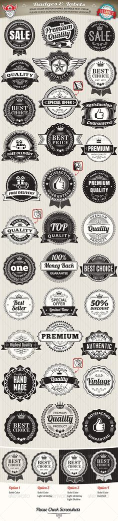 33 Vintage Labels and Badges