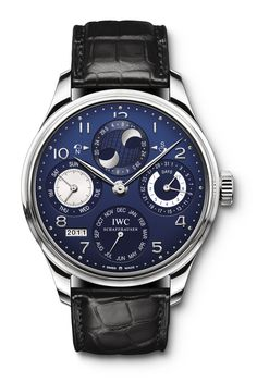 IWC Portuguese Perpetual Calendar In White Gold With A Blue Dial.