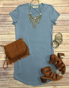 Where I'm Going Tunic Dress: Blue #tunic #ootd #fringe #dress #summerfashion (privityboutique.com)
