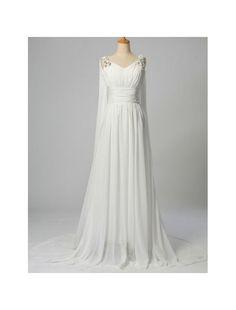 Chiffon V-Neckline Sheath Wedding Dress with Watteau Train  http://www.rainingblossoms.com/all-bridal-gowns/3764-chiffon-v-neckline-sheath-wedding-dress-with-watteau-train.html