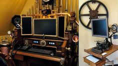 Steampunk computer workstation, 6 months of work put into this. This would be a really cool pet project for the truly devout steampunk fan. Style Steampunk, Steampunk House, Steampunk Design, Computer Workstation, Computer Setup, Computer Station, Neo Victorian, Victorian Homes, Wild West