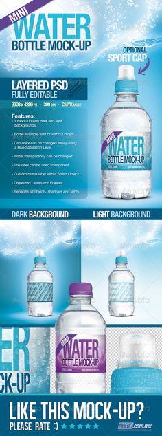 Mini Fresh Water Bottle MockUp — Photoshop PSD #blue #bottle • Available here → https://graphicriver.net/item/mini-fresh-water-bottle-mockup/4167591?ref=pxcr