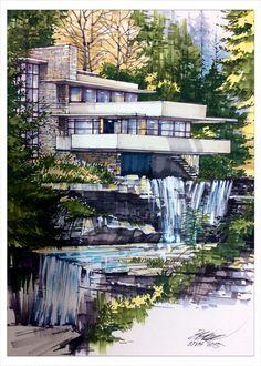 Frank lloyd Wright Falling water house Draw by Bùi Thanh Việt Hùng  Khoá học Thể hiện kiến trúc, liên hệ 0988091376, Hà Nôij