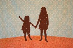 Fabric silhouette art for Mother's Day   Chica and Jo