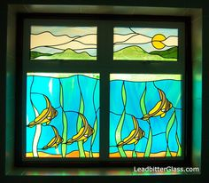 stained glass ocean | ocean_tropical_fish_stained_glass_window