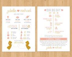 Infographic Wedding Program | Timeline, Fun Facts, States, Custom Design Printable PDF