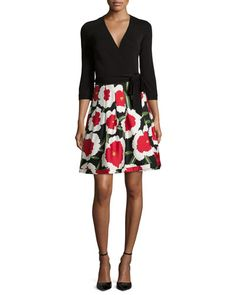 TAPG7 Diane von Furstenberg 3/4-Sleeve Floral-Print Combo Wrap Dress