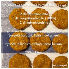 Vauvan maapähkinävoikeksit Toddler Finger Foods, Toddler Meals, Kids Meals, Baby Food Recipes, Gluten Free Recipes, Healthy Recipes, Baby Led Weaning, I Love Food, Nom Nom