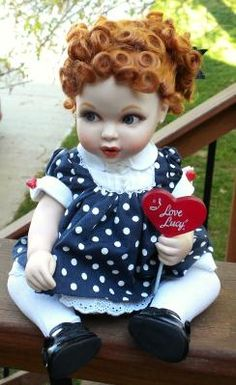 Lucille Ball I LOVE LUCY FRANKLIN MINT BABY DOLL-Blue Dress & Sucker-LIKE NEW-ADORABLE