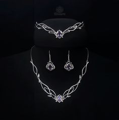 Elven Silver Wedding Set Aveline with amethysts or any by ilmaru