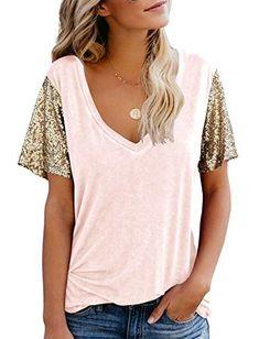 Topstype Women's Sequin Short Sleeve Tee V Neck T Shirts Glitter Sparkles Loose Blouse Tops Topstype