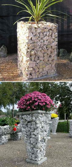20+ Lovely DIY Gabion Ideas To Enhance Outdoor Space Fall Flower Pots, Gabion Cages, Gabion Wall, Garden Deco, Garden Art, Outdoor Projects, Garden Projects, Outdoor Landscaping, Outdoor Gardens