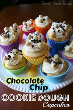 Chocolate Chip Cookie Dough Cupcakes  These look so fancy but are a cinch to make!  Perfect birthday cupcakes.