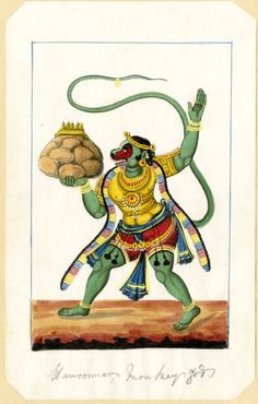 Painting. Ramayana. Hanuman carrying mountain, with caption. Water-colour on paper. Inscription.