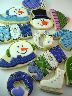 """Winter snowman, """"SNOW"""", ice skates, & more decorated sugar cookies from Cookie Crazie Repinned By:#TheCookieCutterCompany"""